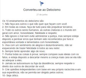A página Deboísmo publicou os ensinamentos que são sugeridos àqueles que praticam o deboísmo
